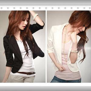 S-XXXL-Women-039-s-Sexy-Black-One-Button-Small-Suit-Jacket-Short-Blazer-3-4-Sleeve