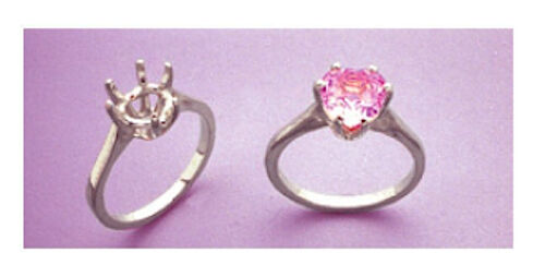 (7x7-11x11mm) Heart Deep Cut Sterling Silver Pre-Notched Ring Setting (Size 6-8)