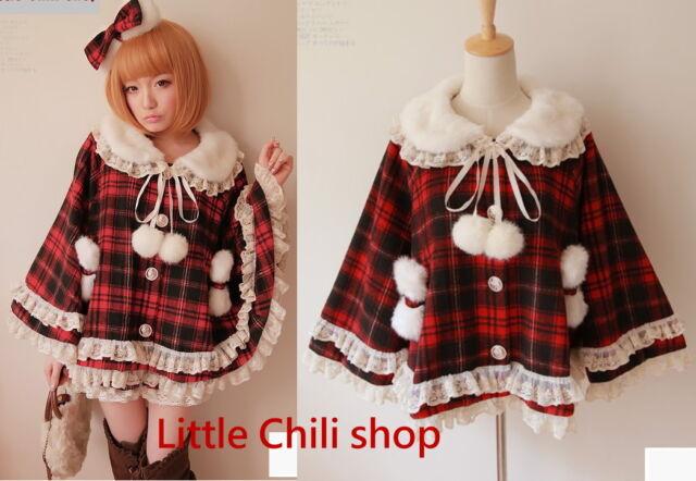Japan Pretty Cute Dolly Lolita Gothic Red Plaid Faux Fur Cape cloak Jacket Coat