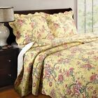 Greenland Home Yellow Butterfly King 3-Piece Quilt Set