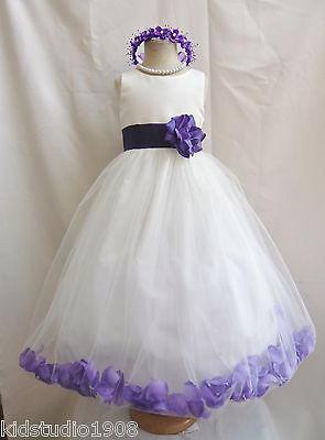 NEW IVORY PURPLE ROSEPETAL TULLE WEDDING RECITAL FLOWER GIRL DRESS 2 4 6 8 10