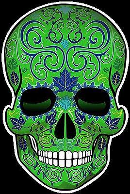 "SUGAR SKULL DIA de los MUERTOS DAY of the DEAD 7"" tall DECALS STICKERS -green"