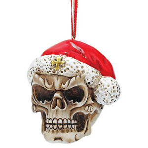 Skeleton Santa Claus Eerie Skull Santa Hat Holiday Ornament