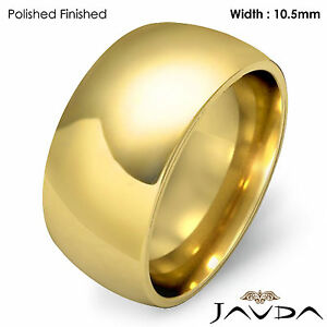 10.5mm Men Wedding Band Solid Dome Comfort Fit Ring 14k Gold Yellow 14.4g 8-8.75