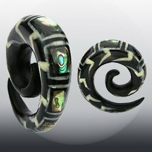 PAIR Organic Abalone Inlay Horn Spiral Tapers Plugs Gauges 2g,0g,00g