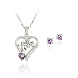 925-Silver-Amethyst-amp-Diamond-Accent-034-Love-034-Heart-Necklace-Set