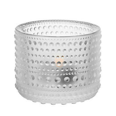 "IITTALA  GLASS  ""KASTEHELMI""   votive FINLAND, FROSTED CLEAR, design OIVA TOIKKA"