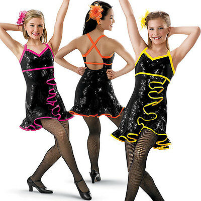 Dance Skate Costume Salsa Tap Jazz 5109 Girls XLC Women L XL Orange Pink Yellow
