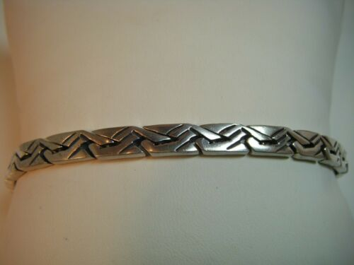 "BEAUTIFUL - Vintage Sterling Silver Mexico heavy link bracelet 8"" 26.4 grams!!"
