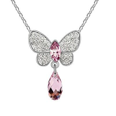 18K White Gold GP Made With Swarovski Crystal Butterfly Teardrop Purple Necklace