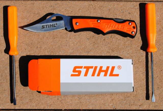 Stihl folding pocket knife - stainless blade - with box and 2 FREE screwdrivers