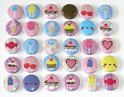 Cute Kawaii Sweets Candy Badges x 30 Buttons Pinbacks Pins Wholesale Lot 25mm