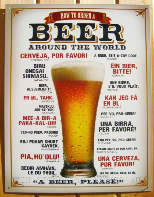 How To Order A Beer Around The World TIN SIGN funny metal poster decor bar 1808