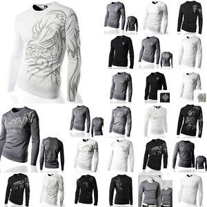 New-Slim-Fit-TATOO-Coolon-Casual-Tops-Jogging-Cycling-Sports-Wear-T-Shirts-M-XL