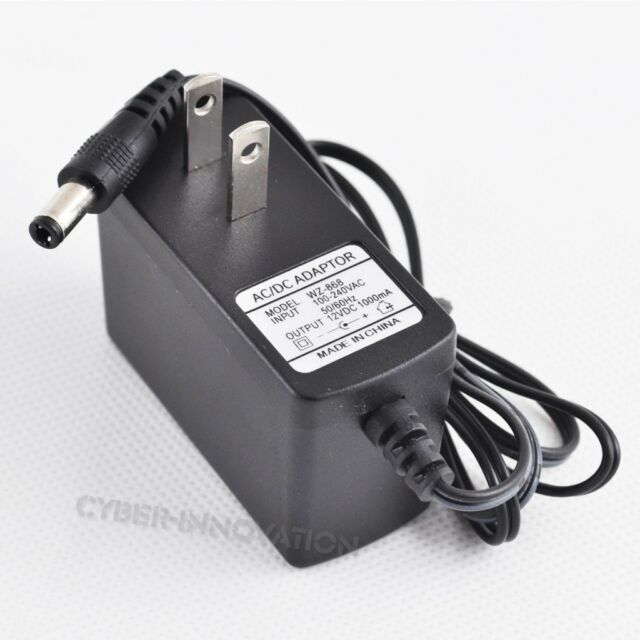 US 12V 1A Power Supply Adapter Charger DC AC 100-240V 5.5mm x2.5mm 1000mA New