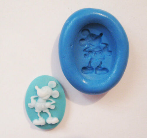 Mickey mouse cameo Cabochon Silicone Push Mold Polymer clay Resin Miniature wax