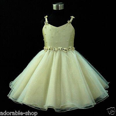 Beige Gold Princess Wedding Party Flower Girls Dresses SIZE 2,3,4,5,6,7,8,10,12Y