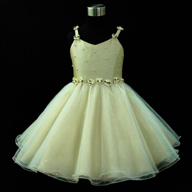 G875 Gold Yellow Christening Wedding Pageant Flower Girls Dresses SIZE 2 to 10Y