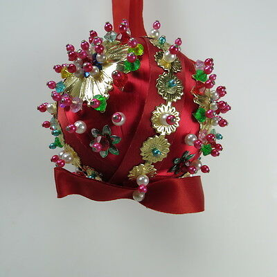 Vintage Sequin Beaded Christmas Satin Ball Ornament 1960's Era Red Gold Crafted