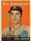 1958 Topps Ken Aspromonte Washington Senators #405 Baseball Card