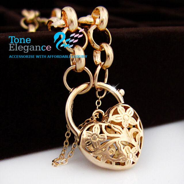 18k Gold GF Heart Padlock solid ladies bracelet with Belcher Ring chain