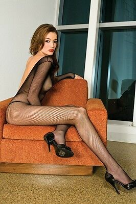 Long Sleeves Fishnet Bodystocking V Back Red or White Plus Size Music Legs 1599Q