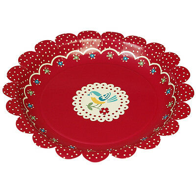 dotcomgiftshop PACK OF 8 RED VINTAGE DOILY BIRD TEA PARTY DISPOSABLE PAPER PLATE
