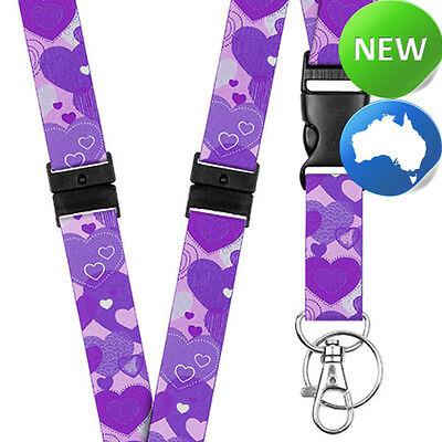 Pattern Lanyard Neck/Strap - Purple Hearts - Key - Id Holder - Phone