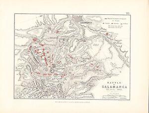 MAP/BATTLE PLAN ~ BATTLE OF SALAMANCA ~ 22nd JULY 1812 ~ ENGLISH FRENCH SPANISH