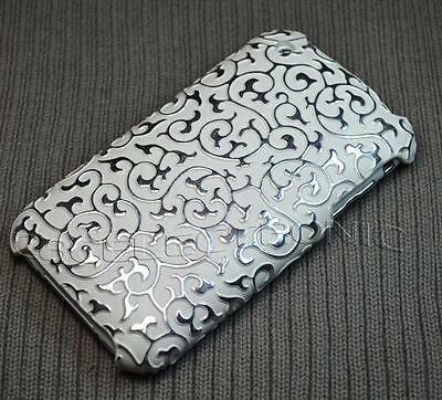New White Silver embossed PU hard case cover for iphone 3g 3gs