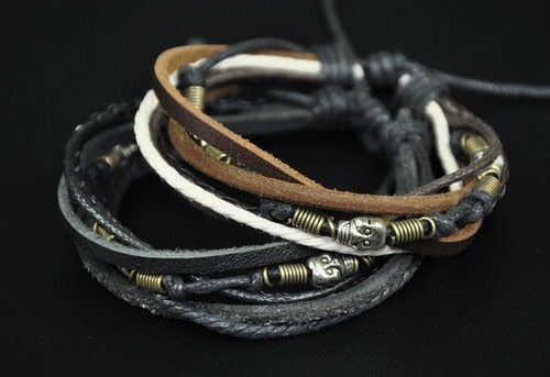 Lot 2pcs Surfer Cool Skulls Vintage Leather Hemp Wristband Bracelet Bangle C24