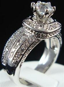 image is loading 2 pcs vintage halo cz cubic zirconia bridal - Ebay Wedding Ring Sets
