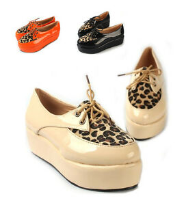 Women-Leopard-Lace-Up-Shoes-Platform-Heels-Wedge-Flats-Pointy-Toe-Loafers-Pumps