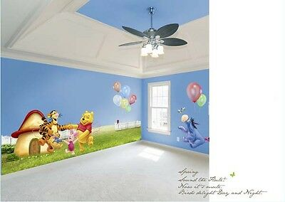 "67"" Large Wall Sticker Winnie the Pooh Family Playing Decals Kids Room Decor"
