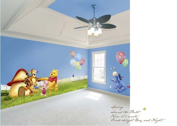 """67"""" Large Wall Stickers Winnie the Pooh Family Playing Decals Kids Room Decor"""