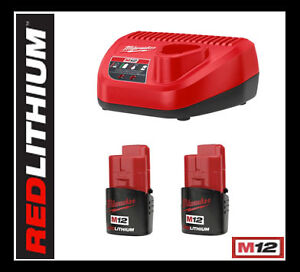Milwaukee-2-M12-RED-LITHIUM-Batteries-M12-LITHIUM-Battery-Charger-12V-NEW