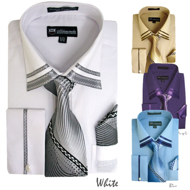 Men's Milano French Cuff Dress Shirt + Matching Tie + Handkerchief Set style 208