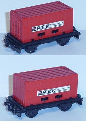 Matchbox MB25 Flat Car schwarz, PSI Container feuerrot, N.Y.K. worldwide service