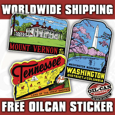 3X RETRO VINTAGE REPRODUCTION LUGGAGE STICKERS vw camper old suitcase