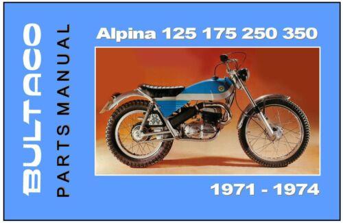 BULTACO Parts Manual Alpina 175 125 1971 1972 1973 1974 Spares Catalog List