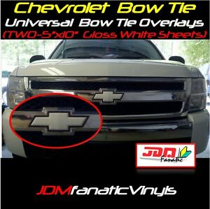 2x-5x10-034-High-Gloss-White-Bow-Tie-Emblem-Overlays-Decal-Wrap-Universal-KIT-Inlay