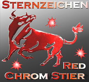 3 d sternzeichen stier roter chrom metall tattoo aufkleber. Black Bedroom Furniture Sets. Home Design Ideas