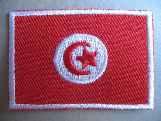 Tunisian Flag Small Iron On/ Sew On Cloth Patch Badge TUNISIA الجمهورية التونسية