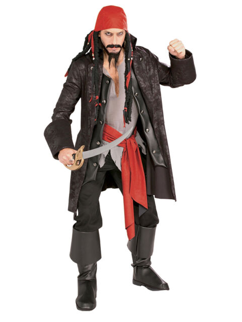 Adult Pirate Captain Jack Sparrow New Fancy Dress Costume Carribean Mens Gents