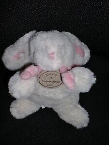 Doudou peluche lapin blanc rose DOUDOU ET COMPAGNIE 20cm