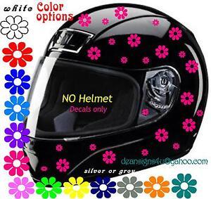 Motorcycle Bicycle Helmet HOT PINK FLOWERS Decal Girls Women - Motorcycle helmet decals for women