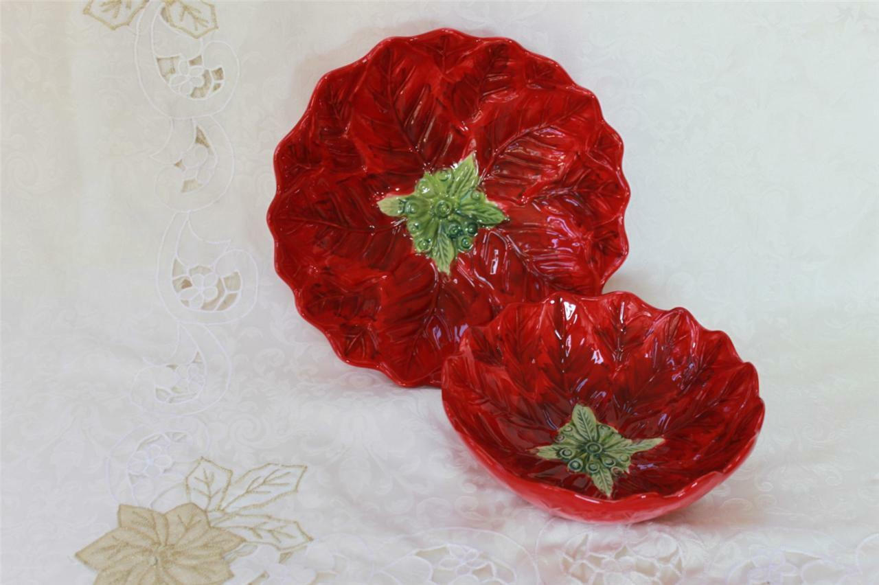 MAXCERA  NOUVEAU NOEL  Poinsettia en Forme de Petit & Large Serving Bols-Rouge - 2PC Set