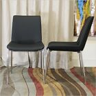 Baxton Studio Fletcher Leather Modern Dining Chair, Black, Set of 2