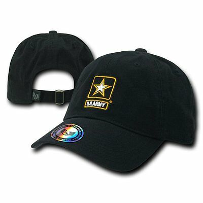Black United States Army Star US Military Washed Polo Baseball Cap Hat Caps Hats