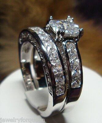 Stunning Princess cut 2 pcs CZ Cubic Zirconia Engagement Wedding Ring set size 8